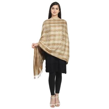 Beige Viscose Rayon Woven Design Striped Shawl