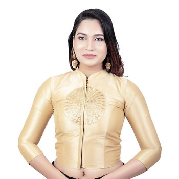 Womens Gold Stand Coller Dupion Silk Sleeves Readymade Long Saree Blouse