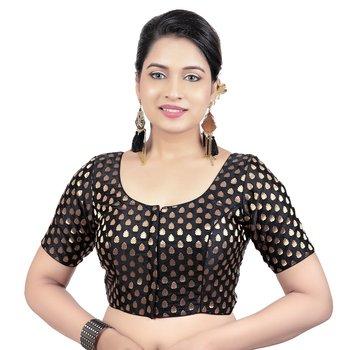 Womens Brocade Black Readymade Saree Blouse