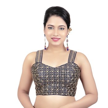 Womens Brocade Navy Blue Zari Work Paghetti Strap Readymade Saree Blouse