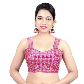 Womens Brocade Pink Zari Work Paghetti Strap Readymade Saree Blouse
