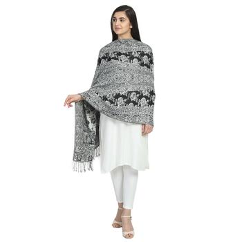 Black & White Viscose Rayon Woven Design Floral Paisley Reversible Shawl