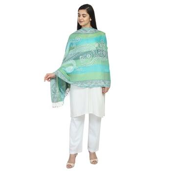 Multicolor & Green Viscose Rayon Woven Design Floral Paisley Shawl