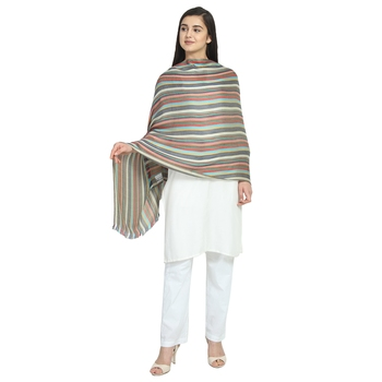 Multicolor Viscose Rayon Woven Design Striped Stole Scarf