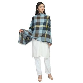 Navy Brown & Multicolor Viscose Rayon Woven Design Checkered scarf