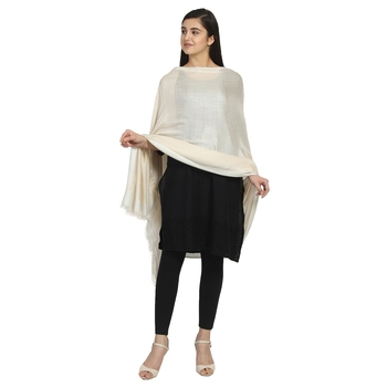Ivory Viscose Rayon Solid Stole