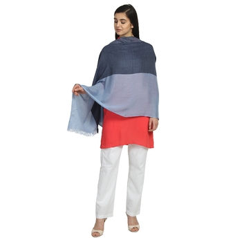 Navy & Light Blue Viscose Rayon Woven Design Colorblock Solid Stole
