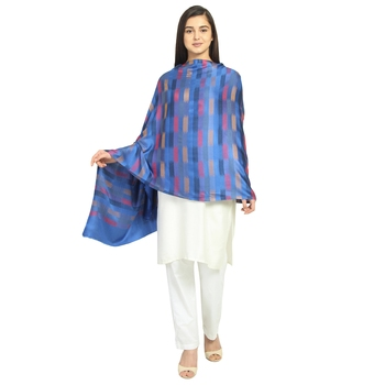 Royal Blue & Multicolor Modal Woven Design Geometric Striped Shawl