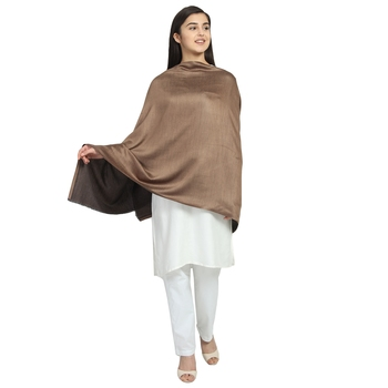 Brown Modal Solid Reversible Shawl
