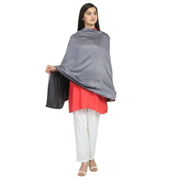 Silver Modal Solid Reversible Shawl