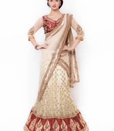 Orange Embroidered Net Saree With Blouse