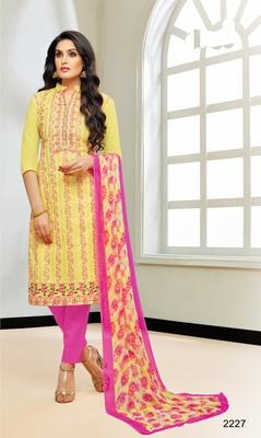 Yellow multi resham work cotton salwar