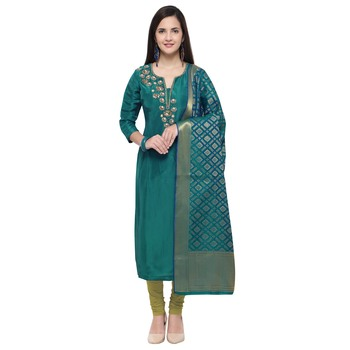 Teal multi resham work chanderi salwar