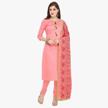Pink multi resham work cotton salwar