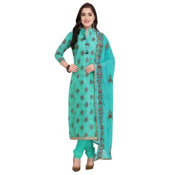 Teal-green multi resham work cotton salwar