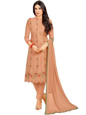 Light-brown multi resham work cotton salwar