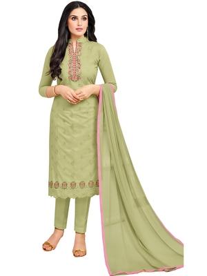 Light-green multi resham work cotton salwar