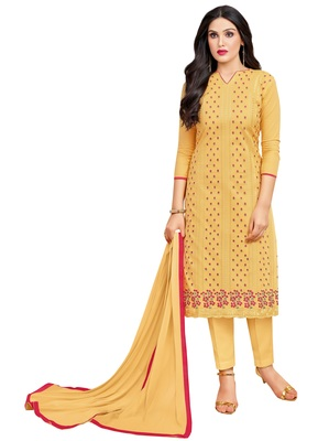 Mustard multi resham work cotton salwar