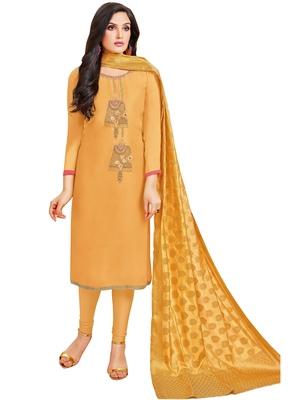 Mustard multi resham work cotton salwar
