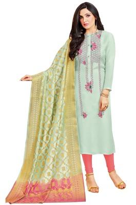 Light-blue multi resham work cotton salwar