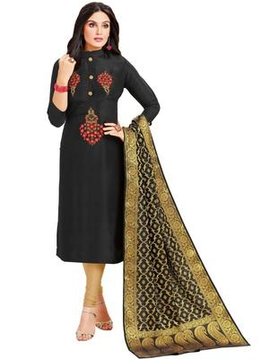 Black multi resham work cotton salwar