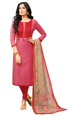 Pink multi resham work chanderi salwar