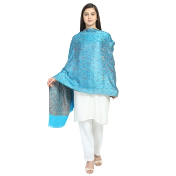 Turquise & Multicolor Modal Woven Design Floral Paisley Shawl