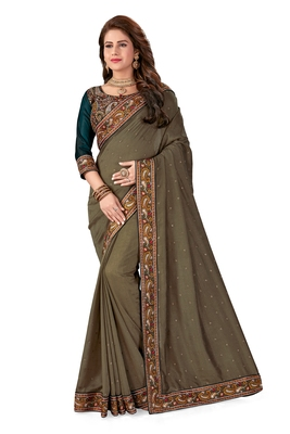 Beige embroidered silk saree with blouse