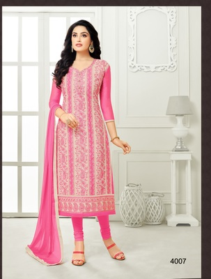 Pink multi resham work chanderi salwar