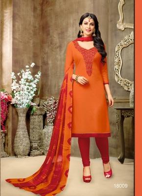 Orange multi resham work chanderi salwar