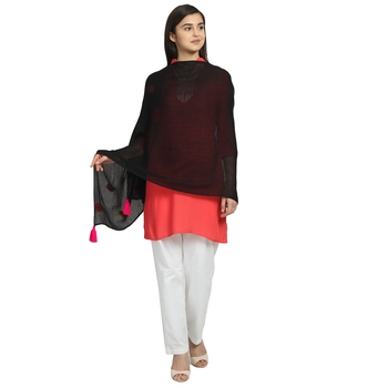 Black & Multicolor Viscose Rayon Solid scarf
