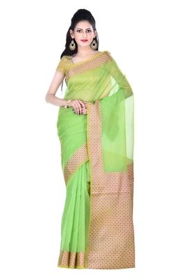 Green Woman's Cotton Silk blend Kota Check Banarasi Saree