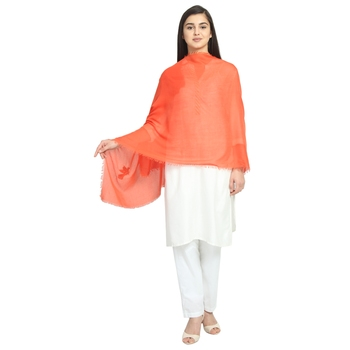 Dark Orange Viscose Rayon Solid Animal scarf