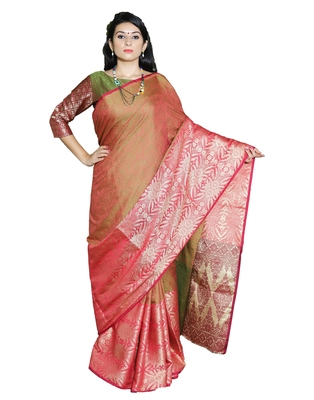 Red woven tanchhoi saree with blouse