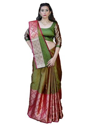 Olive woven tanchhoi saree with blouse