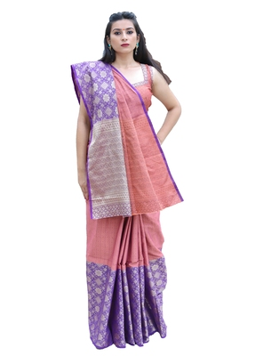 Coral woven tanchhoi saree with blouse