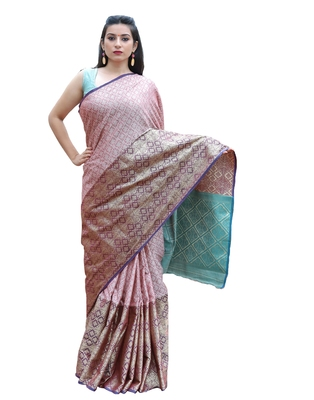 Pink woven tanchhoi saree with blouse