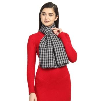 Black & Grey Viscose Rayon Woven Design Checkered Striped Reversible scarf