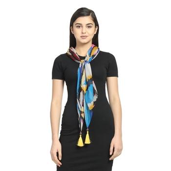 Blue & Multicolor Chiffon Printed Animal scarf
