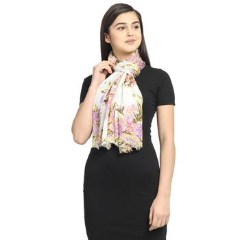 White & Purple Viscose Rayon Printed Floral Stole