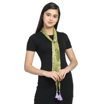 Green & Purple Chiffon Printed Floral Paisley scarf