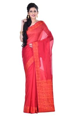 Maroon Woman's Cotton Silk blend  Banarasi Saree