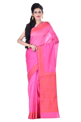 pink Woman's Cotton Silk blend  Banarasi Saree