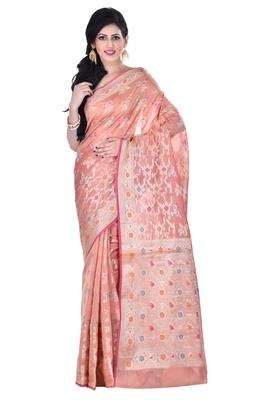 peach Woman's Cotton Silk blend  Banarasi Saree
