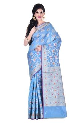 Sky blue Woman's Cotton Silk blend  Banarasi Saree