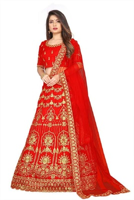 Red Embrodery Satin Attractive Lehngha Lehngha choli with Blouse