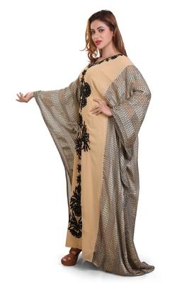 beige moroccan islamic dubai kaftan farasha aari and stone work dress