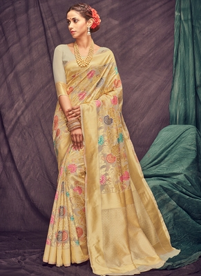 Golden woven cotton silk saree with blouse