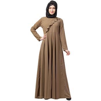 Designer Beige Umbrella abaya with pearl handwork
