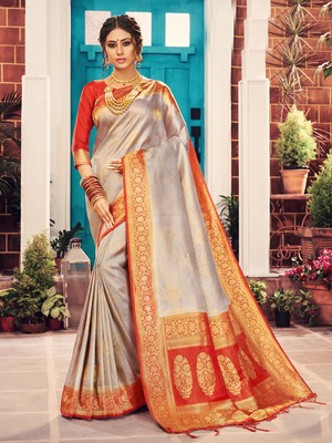 Silver woven art silk saree with blouse